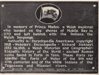 Madoc - Plaque at Fort Morgan showing where the Daughters of the American Revolution supposed that Madoc had landed in 1170 A.D.