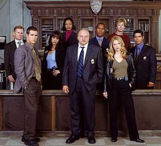 NYPD Blue - L–R, the cast of NYPD Blue at the beginning of season 11: Clapp, Gosselaar, Obradors, Beauvais-Nilon, Franz, Simmons, Ross, Brochtrup, Morales