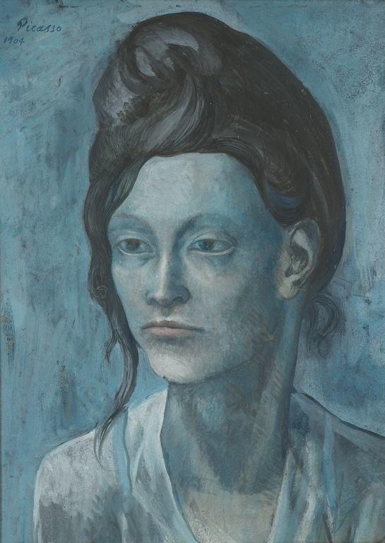 Pablo Picasso, 1904, Woman with a Helmet of Hair, gouache on tan wood pulp board, 42.7 x 31.3 cm, Art Institute of Chicago