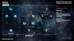 Payday 2 - Players can use skill points to obtain various abilities and bonuses on skill trees representing five criminal archetypes and playstyles. The Mastermind skill tree is pictured in this screenshot.