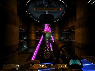 Quake 4 - Corporal Matthew Kane prepares to take out the Strogg Nexus with his Rail Gun