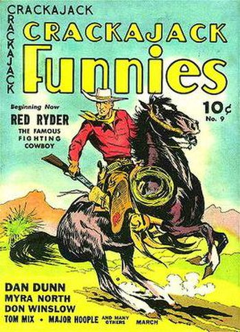 The first appearance of Red Ryder on Dell Comics' Crackajack Funnies #9 (March 1939)