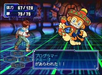 Segagaga - A battle screen; Tarō Sega fights against Amigo.