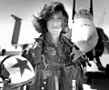 Tammy Jo Shults with a F/A-18 Hornet of VAQ-34 squadron