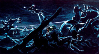 Terminator (franchise) - Concept art illustrating the conflicts between Skynet and the Resistance in a post-apocalyptic, futuristic setting, envisioned by creator James Cameron for the 1984 film The Terminator.