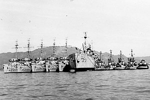 USS Devastator (AM-318) - USS Devastator (second ship from left) at Sasebo, Japan, 1952