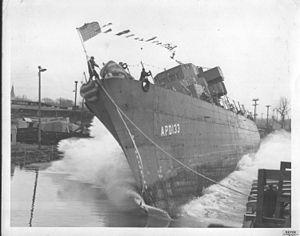 USS Burdo (APD-133) - USS Burdo at launch
