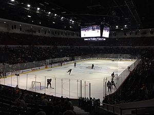 Valley View Casino Center - San Diego Gulls Pregame in October 2015 after renovations with arena in hockey configuration