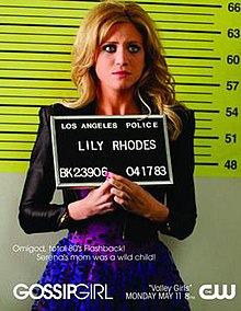 "Alt = A mug shot of a blond woman dressed in purple polka dotted dress and tight black leather jacket. She looks slightly to the right of the viewer and holds a sign stating ""Los Angeles Police"", ""Lily Rhodes"", and numbers. 3/4 of the way down, the episode's tagline, series, premiere date, and network are written in white."