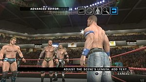 WWE SmackDown vs. Raw 2010 - A screenshot of the game's new WWE Story Designer mode, here demonstrating the mode's scenario design function