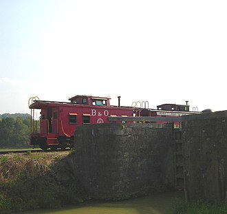 Whitewater Valley Railroad - Train along the Whitewater Canal
