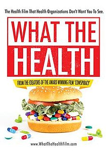 "Movie poster with the text, ""The Health Film That Health Organizations Don't Want You To See. What the Health: from the creators of the award winning film 'Cowspiracy' www.WhatTheHealthFilm.com"""