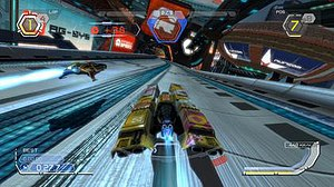 Wipeout (series) - A screenshot from Wipeout HD. The series revolves around players piloting anti-gravity ships through futuristic race environments.