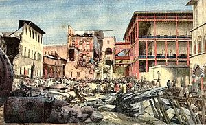 House of Wonders - The damaged Zanzibar seafront after the Anglo-Zanzibar War of 1896. The House of Wonders is on the right