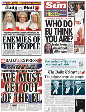 R (Miller) v Secretary of State for Exiting the European Union - The front pages of (clockwise from top-right) The Sun, The Daily Telegraph, The Daily Express and The Daily Mail on 4th November 2016, the day after the High Court decision.