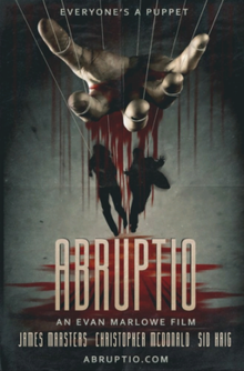 A poster of a large hand puppeteering two small shadows, following a stream of blood.