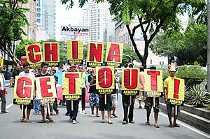 Akbayan - Akbayan mobilization in front of Chinese Consular Office protesting the Chinese's incursions into the Philippines' Exclusive Economic Zone