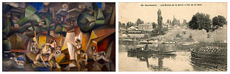 Les Baigneuses (Gleizes) - Albert Gleizes, 1912, Les Baigneuses, The Bathers, (left) vs. Courbevoie, postcard ca.1912, Les Bord de Seine, L'Ile de la Jatte (right). The Île de la Jatte (or Île de la Grande Jatte) is an island over which Gleizes would have passed on his way to and from the center of Paris. The island is well known as the setting for Georges Seurat's A Sunday Afternoon on the Island of La Grande Jatte (1884), and his Bathers at Asnières, in the background of which smoke emanating from industrial factories of Clichy can be observed; just as in Gleizes' Baigneuses