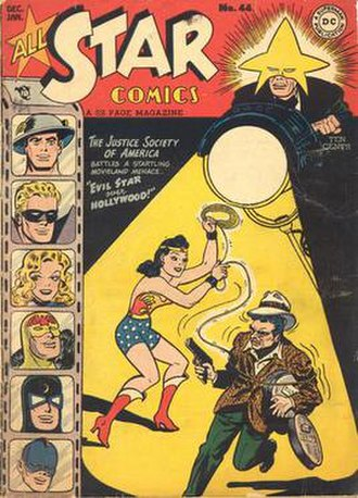 Evil Star - The Golden Age Evil Star menaces Hollywood and the Justice Society of America. Art by Irwin Hasen.