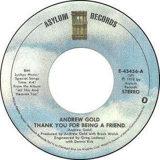 Thank You for Being a Friend - Image: Andrew gold thank you for being a friend elektra