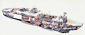 """John Batchelor (illustrator) - A cutaway illustration of a ferry by Batchelor, showing trademark shading effects, red infill on the """"cut"""" surfaces, and detailing"""