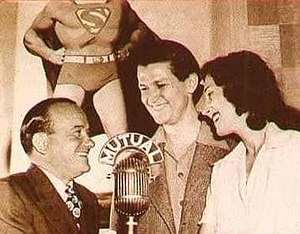 The Adventures of Superman (radio) - National (DC) Comics Publisher Harry Donenfeld (left) with Bud Collyer and Joan Alexander.