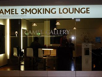 Smoking room - A Camel Cigarette Smoking Room in an airport at Zurich, Switzerland.