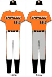 Canberra Cavalry's home and away uniforms.
