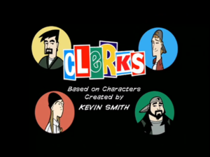 Clerks: The Animated Series - Title card featuring the four main characters. Top from the left: Dante Hicks, Randal Graves, bottom from the left: Jay, and Silent Bob.