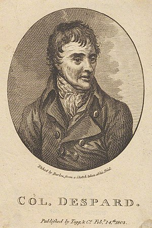 Edward Despard - Etching by Barlow (based on sketch taken at trial)