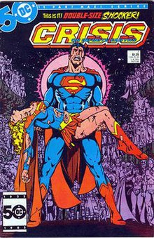 Comic-book cover, with a grieving Superman carrying Supergirl