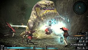 Final Fantasy Type-0 - Screenshot of combat in Final Fantasy Type-0, showing characters Ace, Machina and Rem in combat with one of the game's common enemies.