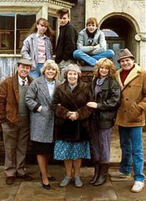 Beale family - The Beales and the Fowlers in 1985 (top) Michelle, Mark and Ian; (bottom) Arthur, Pauline, Lou, Kathy and Pete
