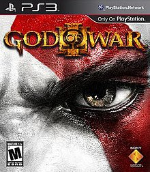 Cover art with a close-up of protagonist Kratos