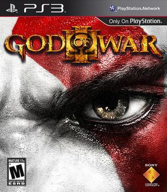 God of War III - Cover art with a close-up of protagonist Kratos