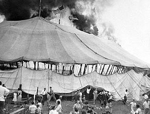 Hartford circus fire - Tent on fire