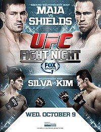 A poster or logo for UFC Fight Night: Maia vs. Shields.
