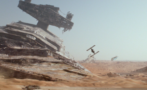 Jakku - Starship Graveyard on Jakku, with the Millennium Falcon and a TIE fighter, from The Force Awakens (2015)