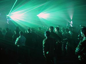 Audience scanning - An audience watches a laser light show during the SIB trade fair in Rimini, Italy in 2002.