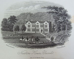 Newton Surmaville - Newton Surmaville House in the nineteenth century. The north front is shown, and is little changed today.