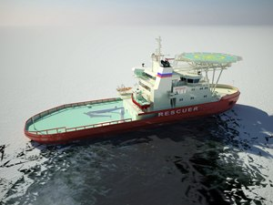 Oblique icebreaker - A rendering of the icebreaking multipurpose emergency and rescue vessel ordered by the Russian Ministry of Transport, showing the unconventional operating mode of an oblique icebreaker.