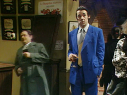 "Del Boy's fall through an open bar-flap in ""Yuppy Love"" (BBC video clip) became one of the show's iconic moments."