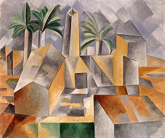 Proto-Cubism - Pablo Picasso, 1909, Brick Factory at Tortosa (Briqueterie à Tortosa, L'Usine, Factory at Horta de Ebro), oil on canvas. 50.7 x 60.2 cm, (Source entry State Museum of New Western Art, Moscow) The State Hermitage Museum, Saint Petersburg