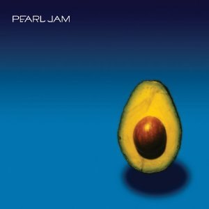"A half-cut avocado stands against a black to blue gradient. The title ""Pearl Jam"" is written in white letters on the upper left."
