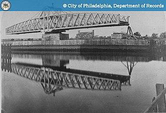 Trunnion - Philadelphia Penrose bridge c. 1880 (shown open) swings on a trunnion bearing.