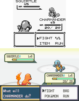 Video game remake - ''Pokémon Red'' and ''Blue'' for the Game Boy (top) were remade for the Game Boy Advance as ''Pokémon FireRed'' and ''LeafGreen'' (bottom).