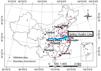 Northern and southern China - The Qinling Huaihe Line, the line that separates China into northern and southern China.