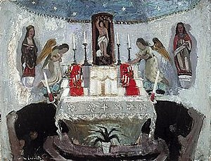 Anne Redpath - In the Chapel of St Jean, Tréboul, 1954, Royal Scottish Academy. A fine example of Redpath's use of a restrained palette with splashes of vibrant colour.