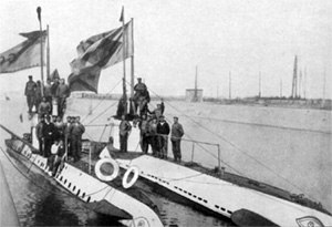 German Type UB I submarine - Image: SM UB 2 and SM UB 16 in Flanders