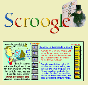 Privacy concerns regarding Google - 2008 screenshot of Scroogle.org.